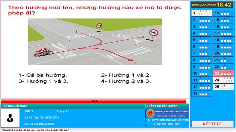 Thi thử bằng lái xe A1