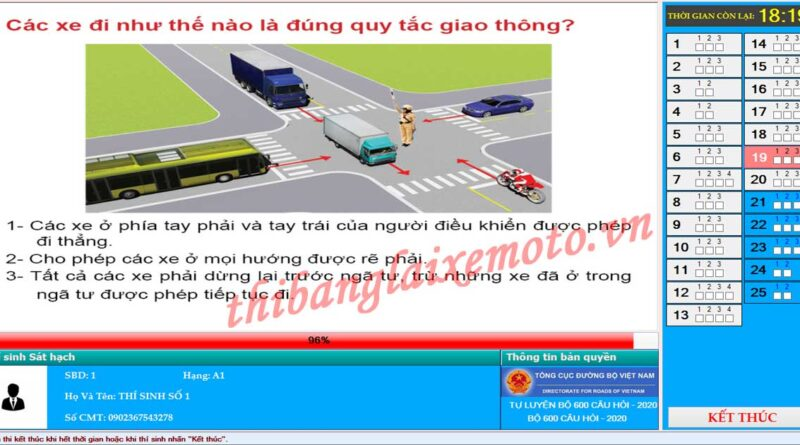 Phần mềm thi bằng lái xe A1, A2